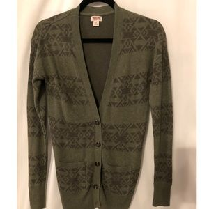 Mossimo woman's cardigan size S, green pattern